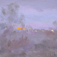 Abstract landscape painting of winter - Modern Nature Painting oil - Lilac original canvas art by Yuri Pysar