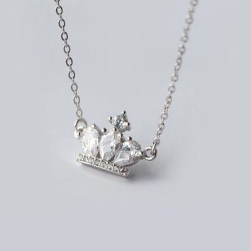 personality zircon crown 925 sterling silver zircon necklace, a perfect gift