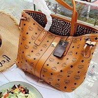 MCM Classic Popular Women Shopping Bag Leather Handbag Satchel Shoulder Bag Brown