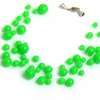 Bright Green Necklace. Bridal Necklace. Wedding Necklace. Bridesmaid Necklace. Beadwork.