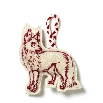 Embroidered Fox Ornament - Ivory/Red