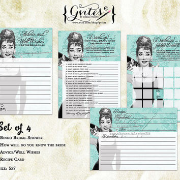 Audrey Hepburn breakfast at party game printables, blue bridal shower games, bridal party games, sheets, printable bingo, wishes for bride.