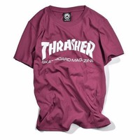Thrasher Maroon/Red White Logo Short Sleeve T Shirt