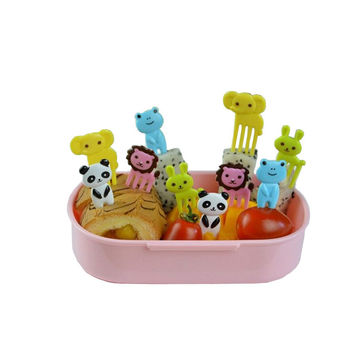 10pcs set Animal child fruit fork creative plastic easy decoration Kitchen Bar Kids dessert forks stick eco friendly on sale