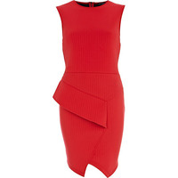 River Island Womens Orange asymmetric peplum dress