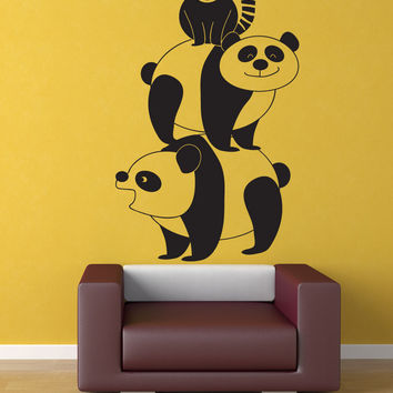 Vinyl Wall Decal Sticker Panda Stack #OS_DC788