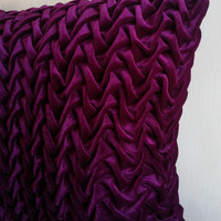 Purple Velvet Decorative Throw Pillows,Textured,Canadian Smocking,Couch Pillows,16x16 Pillows, Home Decor, Indian Cushion Cover
