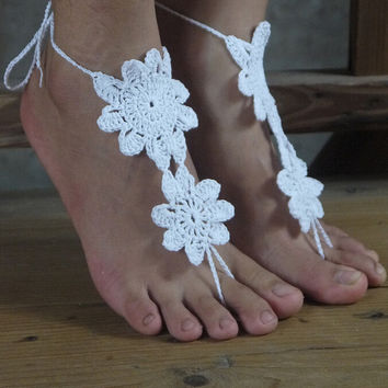 Handmade Crochet Barefoot Sandals ,Nude shoes, Foot jewelry, Wedding, Victorian Lace, Sexy, Yoga, Anklet , Bellydance,Steampunk, Summer Beach Pool,Ethnic,Gift-21