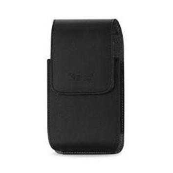 VERTICAL LEATHER POUCH HTC HD2 T8585 IN BLACK WITH MEGNETIC AND BELT CLIP (5.16X3.04X0.83 INCHES PLUS)