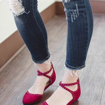 Smile Suede Cherry Red Flat