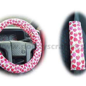 Strawberry surprise cotton Car Steering wheel cover & matching seatbelt pad set