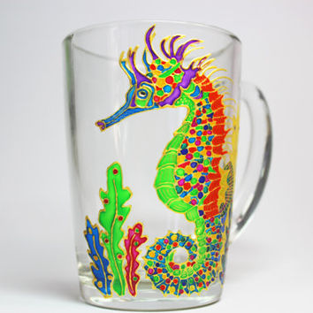 Coffee mug Sea horse, Mug Sea horse, Hand painted Coffee Mug, Mug for him Seahorse, gift Coffee cup