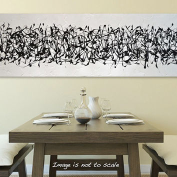 "HUGE 48"" Original Abstract Acrylic Painting - Textured Black and White Modern Art - Flow V: Large 48 x 16 - FREE Shipping"