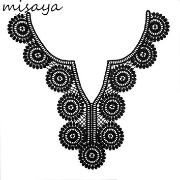 Misaya Embroidery Round Flower Lace Neckline Fabric DIY Manual Collar Wedding Decoration Lace Fabrics For Sewing Collar Crafts