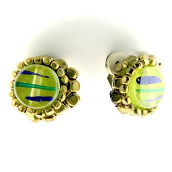Green clip-on earrings for women round button clips grandma jewelry gifts christmas gift ideas her just sale vintage retro jewellery