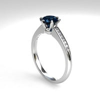 0.50ct Teal diamond solitaire engagement ring with white diamonds, 950 platinum engagement ring, unique, blue diamond solitaire, custom