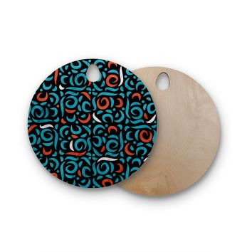 "Tobe Fonseca ""Arabic Organic Pattern Black"" Black Blue Arabesque Pattern Digital Illustration Round Wooden Cutting Board"