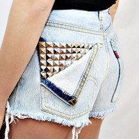 Studded Pocket High-Waisted Shorts