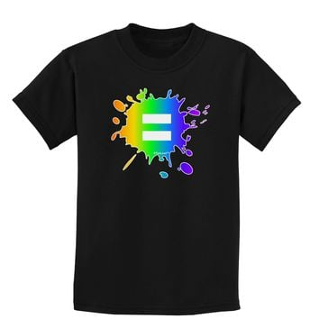 Equal Rainbow Paint Splatter Childrens Dark T-Shirt by TooLoud