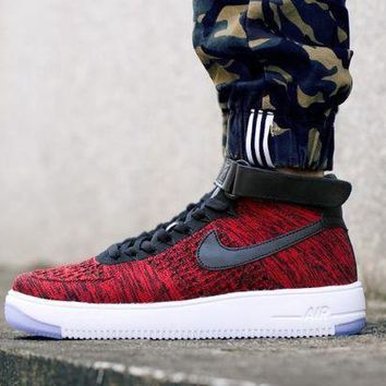 PEAPNW6 Originals Nike Air Force One 1 Flyknit Mid Red / White / Black Running Sport Casual Shoes '07 817420-602 Sneakers