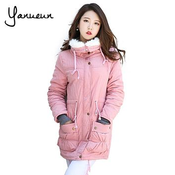 Yanueun Korean Fashion New 2017 Winter Jacket Coat Women Plus size outwear Padded Jacket Thick Cotton Wadded Warm Parka