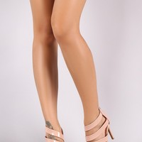 Anne Michelle Patent Open Toe Strappy Stiletto Heel