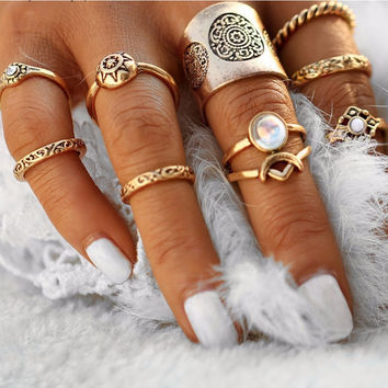 9 Pc Vintage Set Antique Midi Rings