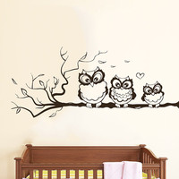 Wall Decals Owl on Branch Childrens Decor Kids Vinyl Sticker Wall Decal Nursery Baby Room Bedroom Murals Playroom - Owl Decor SV6014