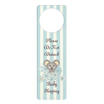 Cute Baby Koala Personalized Pastel Blue Striped Door Hanger