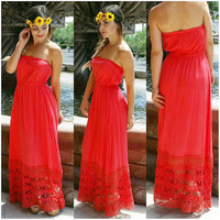 CATCHING WILDFLOWERS MAXI DRESS IN CORAL