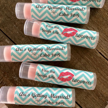Kiss the Single Life Goodbye. Bachelorette Party. Bridal Shower Party Favors. Hens Party. Party Favors. Personalized Lip Balm.