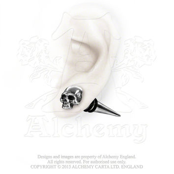 Alchemy Gothic Tomb Skull Spike Earring