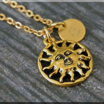 Gold Sun Charm Necklace, Initial Charm Necklace, Personalized Jewelry, Smiling Sun Pendant, Monogram Celestial Charm Necklace
