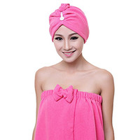 Holiberty Microfiber Super Absorbent Soft Bath Towel Hair Turban Dry Hat Cap Quick Drying Lady Shower Cap Hat Twist Head Wrap Dryer