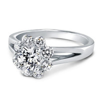Engagement Ring - Round Diamond Halo Engagement Ring 0.70 tcw in Platinum - ES880PL