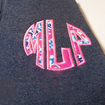 Monogram Sweatshirt, Lilly Pulitzer Monogram Sweatshirt, Quarter Zip Monogram Sweatshirt, Lilly Pulitzer Appliqué Sweatshirt