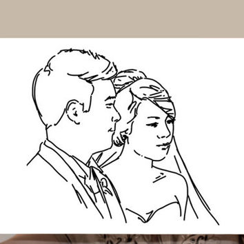 Your custom wedding portrait Original Print + Digital File Unique and Personalized gift for Birthday Wedding Christmas Valentine's day