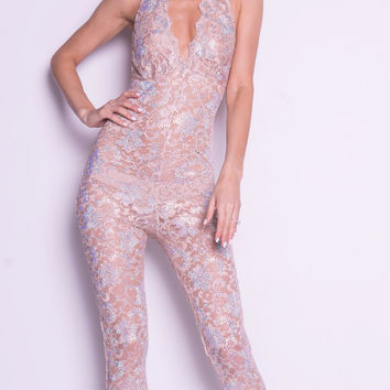 CARO LACE JUMPSUIT WITH CRYSTALS