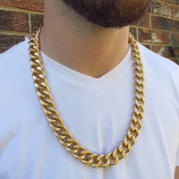 28 Inch Matte Gold Curb Chain Men's Necklace - Heavy Urban Edgy Hip Hop Hipster Long Super Thick and Chunky Large Link Chain Jewelry