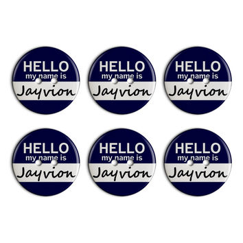 Jayvion Hello My Name Is Plastic Resin Button Set of 6