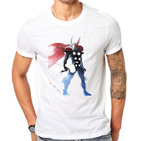Avengers Thor Inspired Watercolor T Shirt, Personalized Marvel Thor Boys superhero T-shirt Customized shirt super hero Christmas men's gift