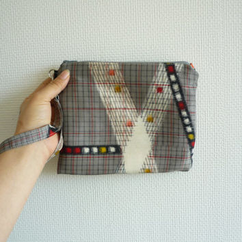 Silver gray wristlet clutch of silk from Japanese vintage kimono with abstract plaid or geometric pattern