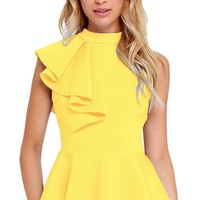 Women Clubwear Turtleneck Asymmetric Ruffle Side Sleeveless