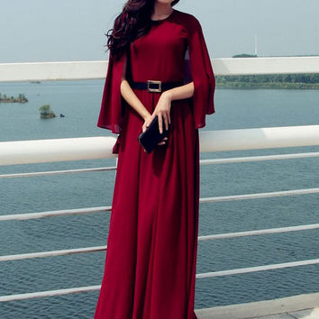 Ruffles Cape Sleeve Mesh Chiffon Maxi Dress