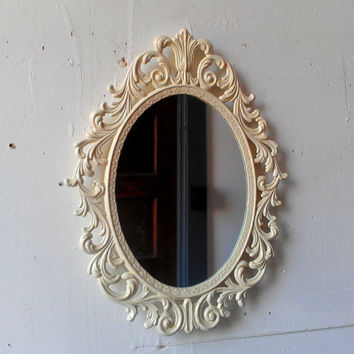 Oval Princess Mirror in Vintage Metal Filigree Frame - 13 by 10 Inches in Vintage White