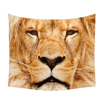 Lion Tapestry, Nature Tapestry, Wall Art, Animal Print, Wild Portrait, Jungle King, Animal Face Photography, African Style, Nature Photo Art