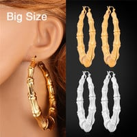 Gold Bamboo Earrings 18K Real Gold /Platinum Plated Big Grain Big Basket Ball Wives Jewelry For Women Jewelry Hoop Earrings E664
