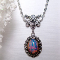 Blue Fire Opal Art Nouveau Necklace