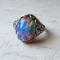 Pink Fire Opal Ring, Victorian Ring, Victorian Jewelry, Harlequin Opal
