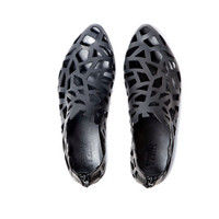 New collection! Flat leather cut out shoes, Designer comfortable shoes / leather slip on shoes / Black summer flats /Spring 2014 Fashion
